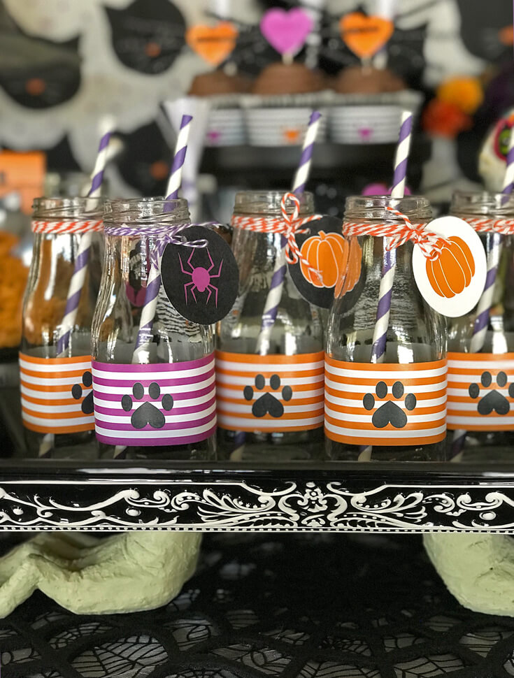 """Milk is a must have for a kitty cat party and dressed up glass milk bottles are the perfect way to serve it. """"Black Cat Halloween Party Reveal"""" on Halfpint Design - Halloween party ideas, kitty cat party, kids party, cat party treats"""
