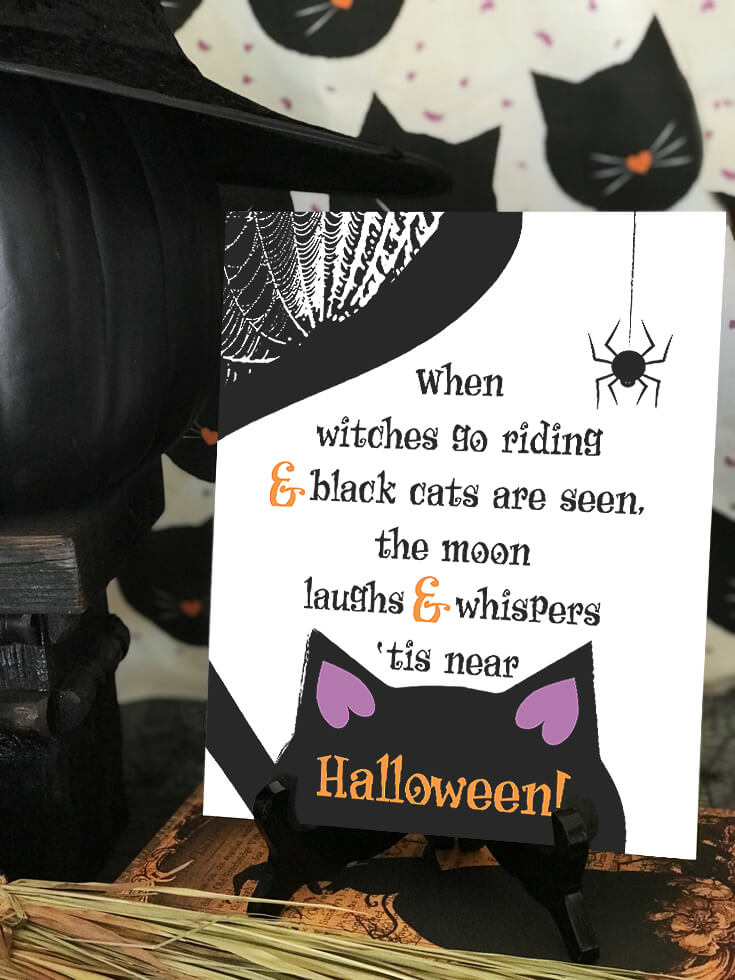 """When witches go riding and black cats are seen, the moon laughs and whispers 'tis near Halloween! Cute sign for a black cat party. """"Black Cat Halloween Party Reveal"""" on Halfpint Design - Halloween party ideas, kitty cat party, kids party, cat party treats"""
