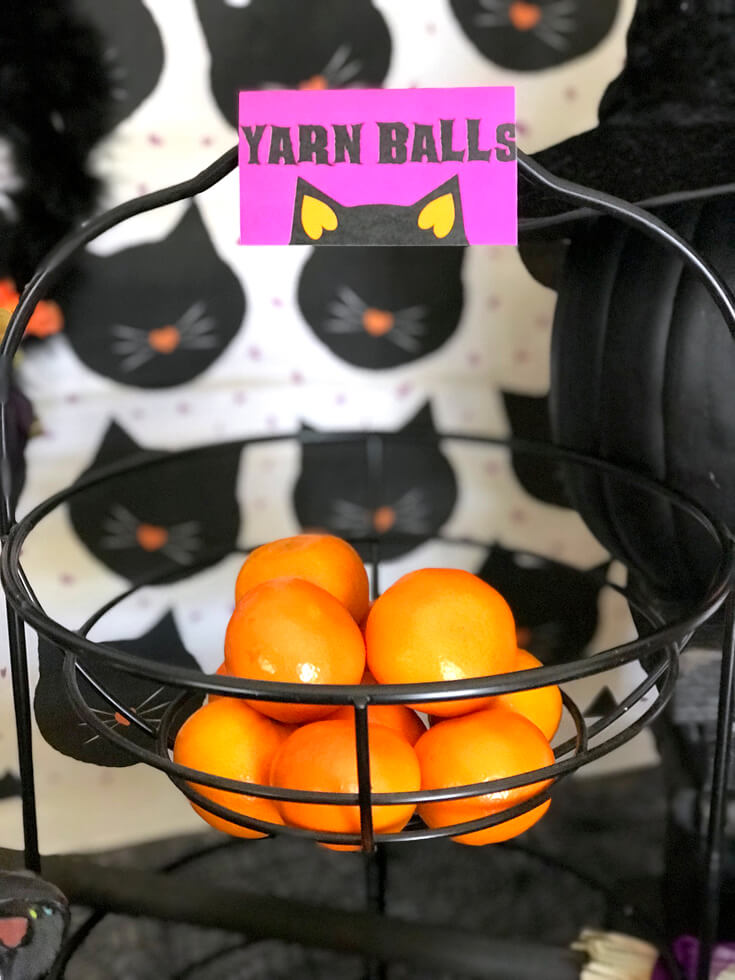 black cat halloween party reveal - halloween party treats and decoration ideas