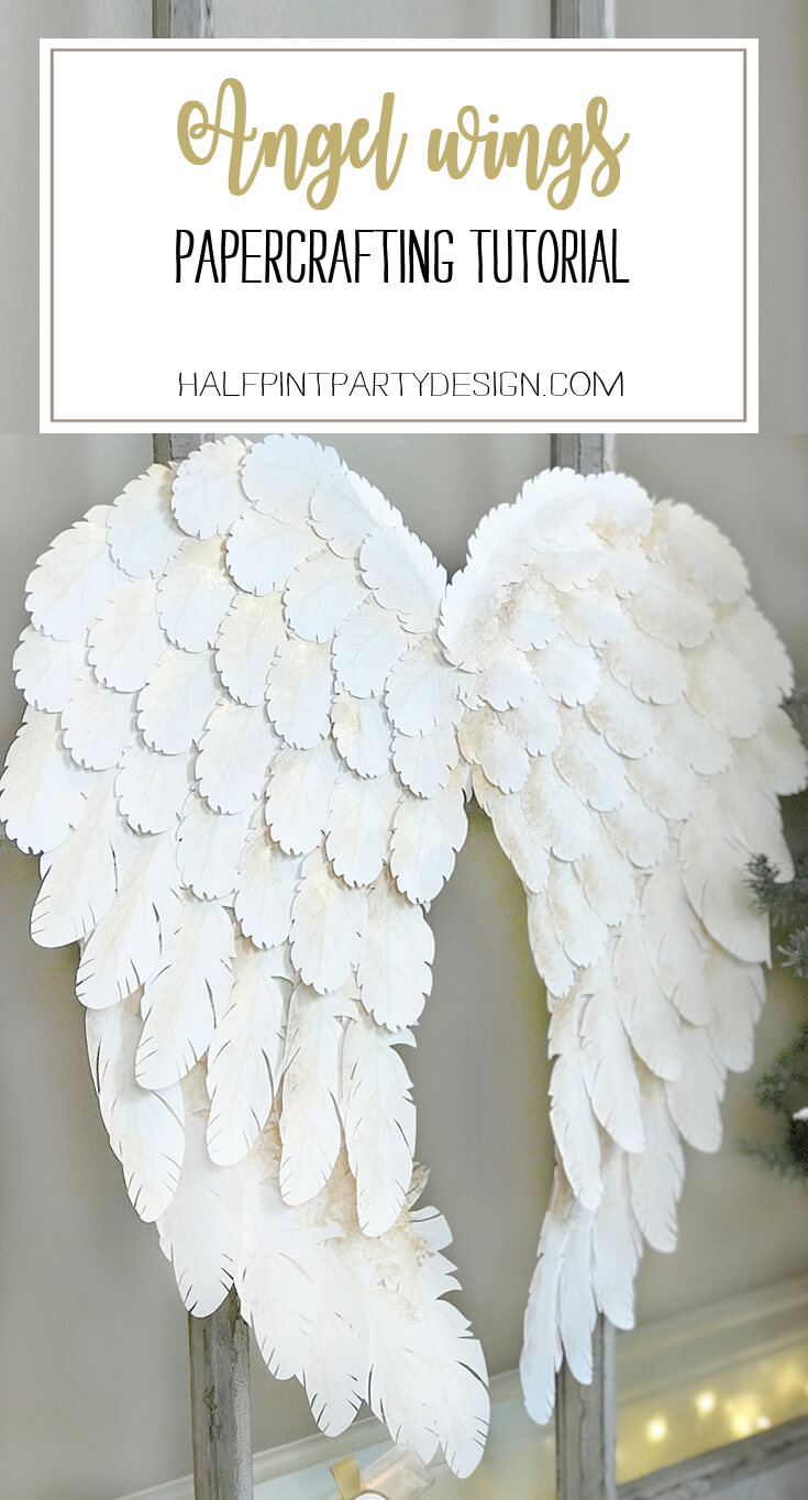 Holiday angel wing tutorial halfpint party design i created angel wings using my cricut explore air for a peace on earth holiday display solutioingenieria Images