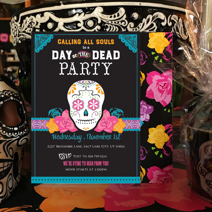 Invite friends and family to your Coco movie party and celebrate the Day of the Dead any day of the year. Coco Viewing Party Tips at Halfpint Design. Day of the Dead Party, Dia de los Muertos, Coco birthday party
