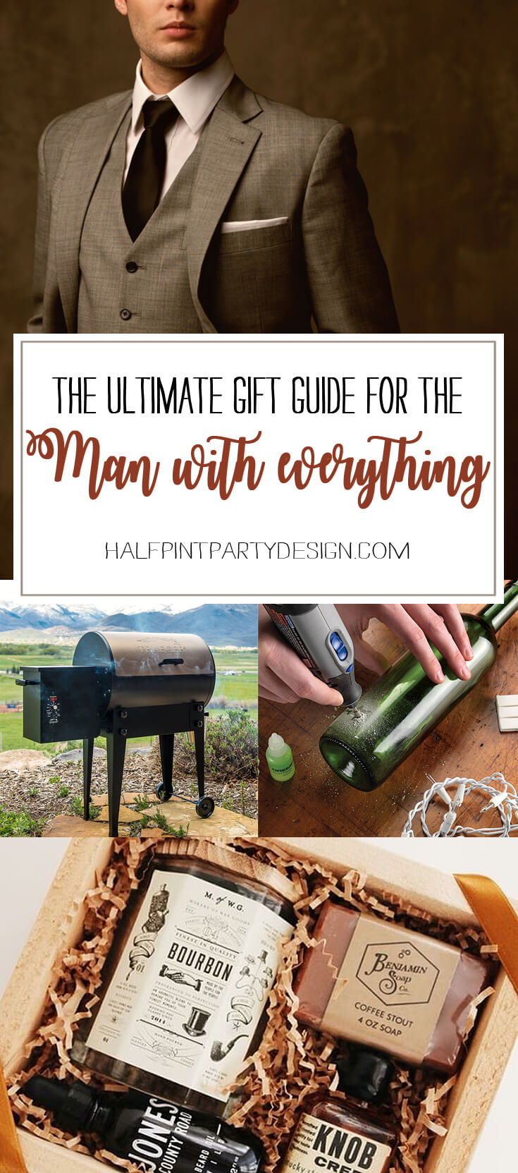 Have a difficult man in your life making gift buying a headache? For 15 great ideas check out the Ultimate Gift Guide for the Man who has Everything at Halfpint Design. Christmas gift ideas, men's birthday gift ideas.