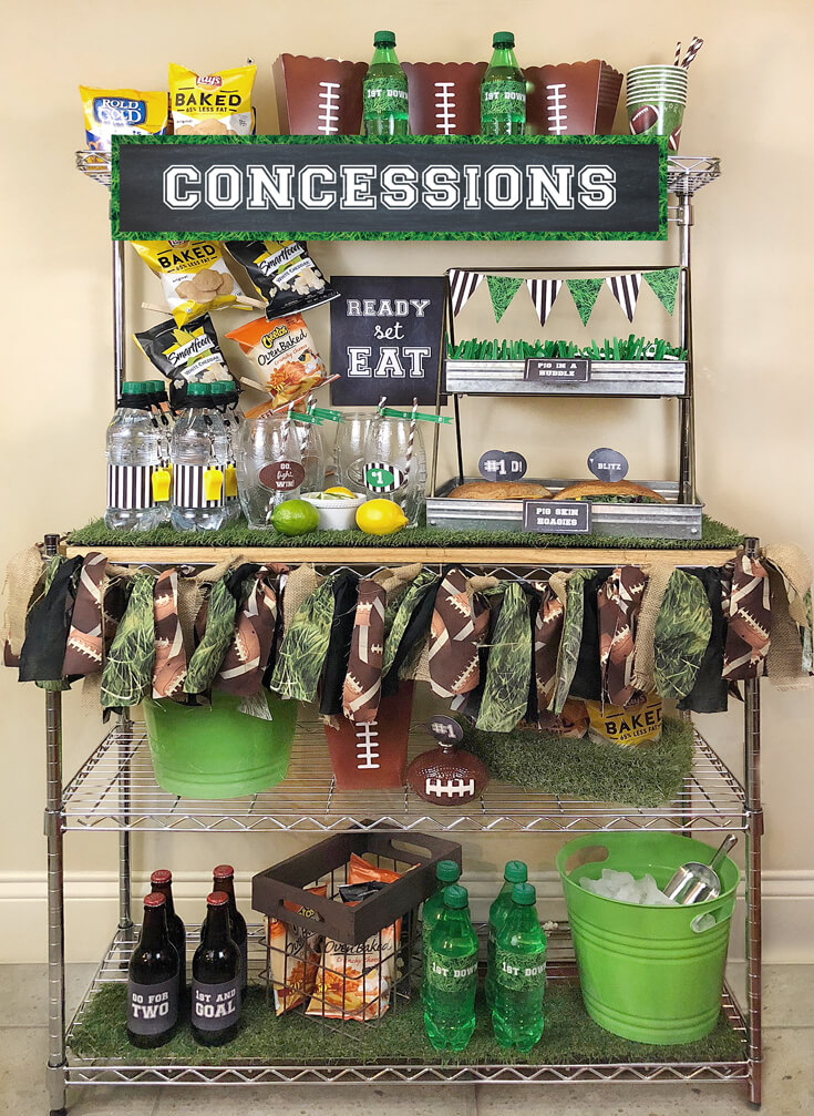 Ready for the BIG GAME? This Football party plan is now available on Enjoius. Recreate this concession stand with simple set up instructions, printables, and everything you need for the perfect super bowl party! Designed by Halfpint Design. Football birthday.