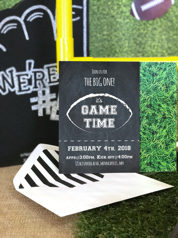 Ready for the BIG GAME? This Football party invitation is available on Etsy. Create an amazing football party using all the resources available this Enjoius party plan. It has everything you need for the perfect super bowl party! Halfpint Design. Football birthday.