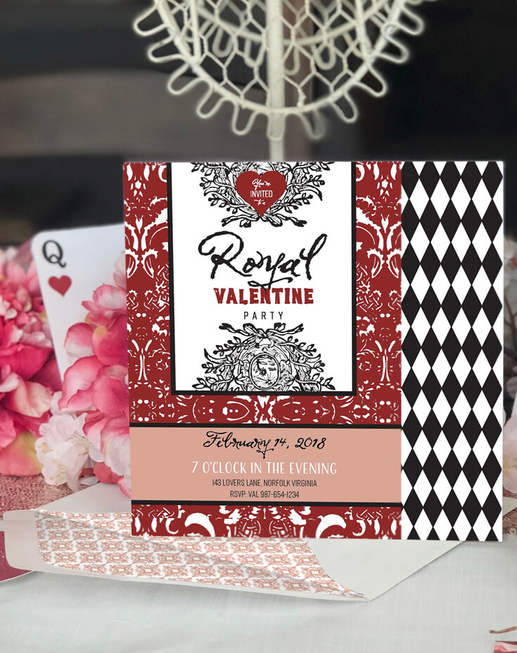 Royal Valentine Invitation Closeup-Queen of Hearts Party Plan ...