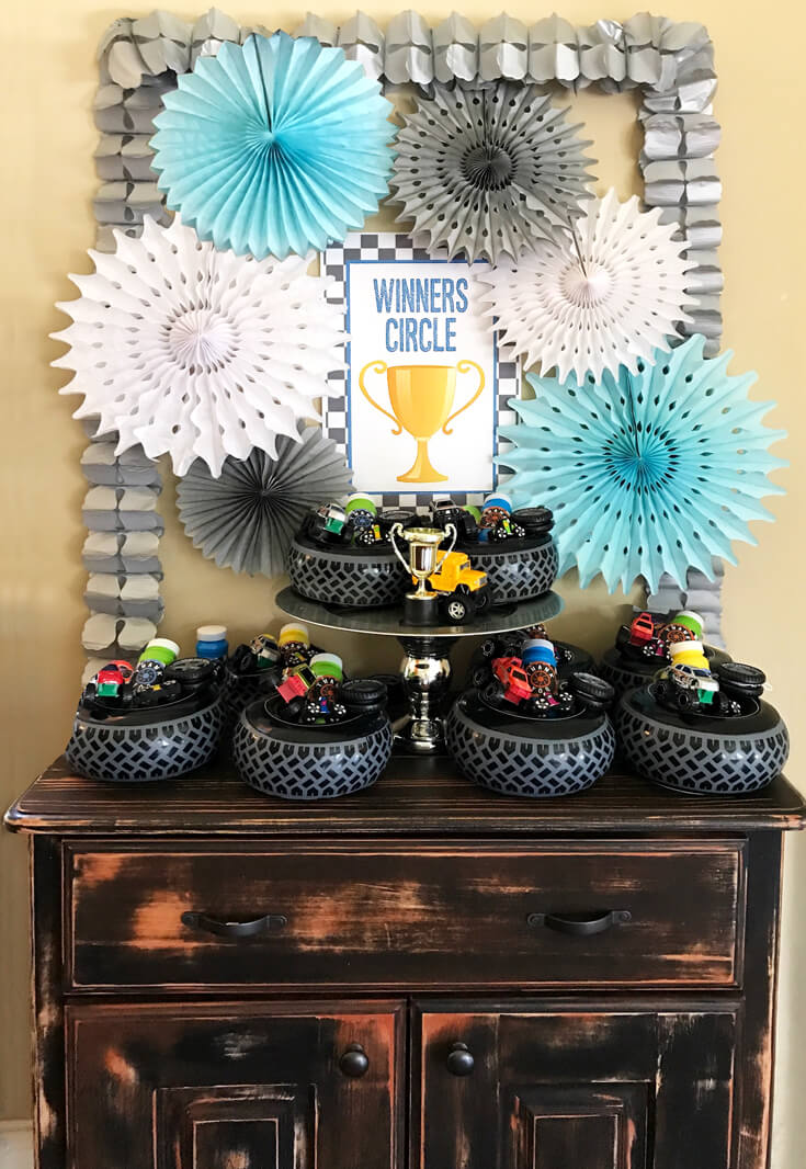 Monster Truck Party Winner's Circle favor table. Monster Truck Party Plan now on Enjoius created by Halfpint Design.