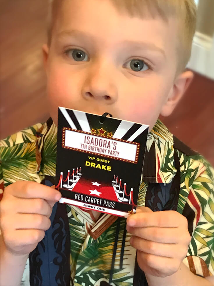 Drake vip movie star party magic halfpintpartydesign movie party movie time vip backstage passes gained entrance to the family room for a movie star party m4hsunfo
