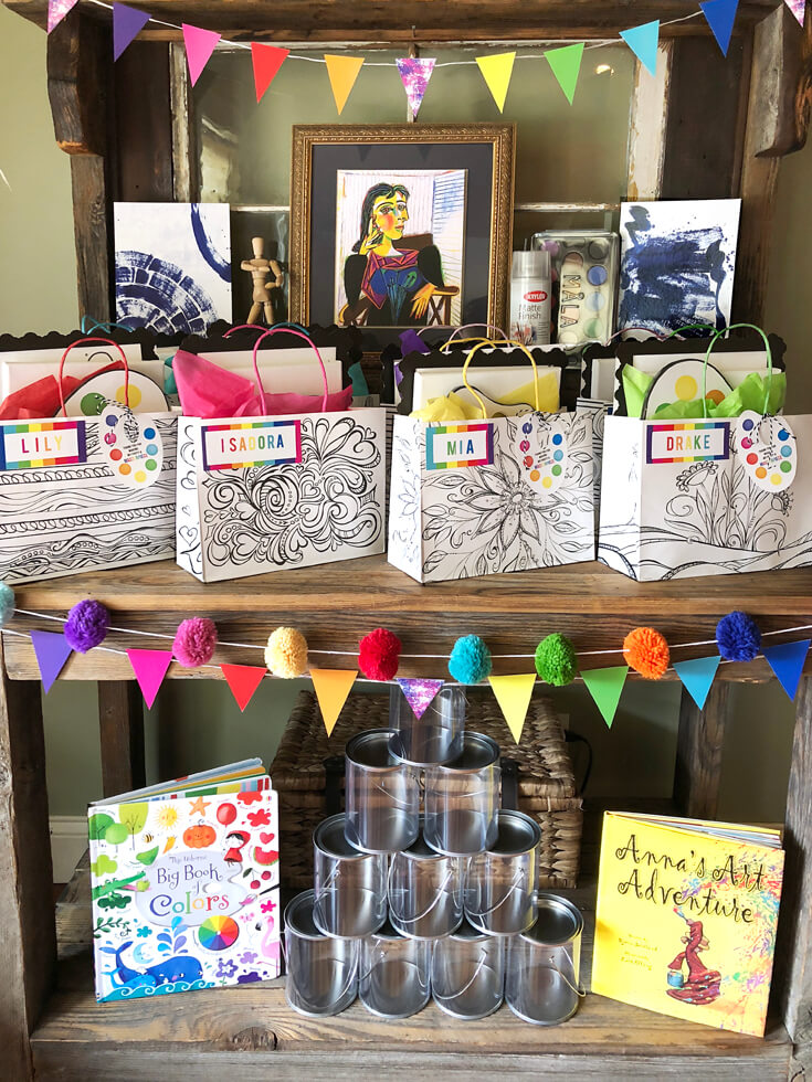 Inspiring favor bags for an Art themed birthday party where you can party like Picasso! Halfpint Design. Art party, painting party, rainbow party.