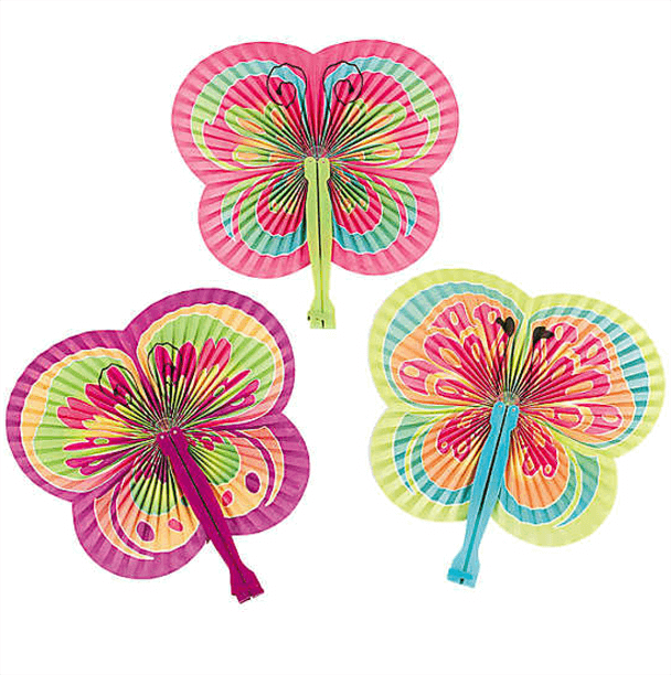 Fold out fans that reveal a butterfly shape for an Enchanted Butterfly party.