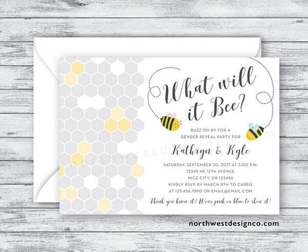 What will it Bee? Gender reveal party invitation in grey and yellow