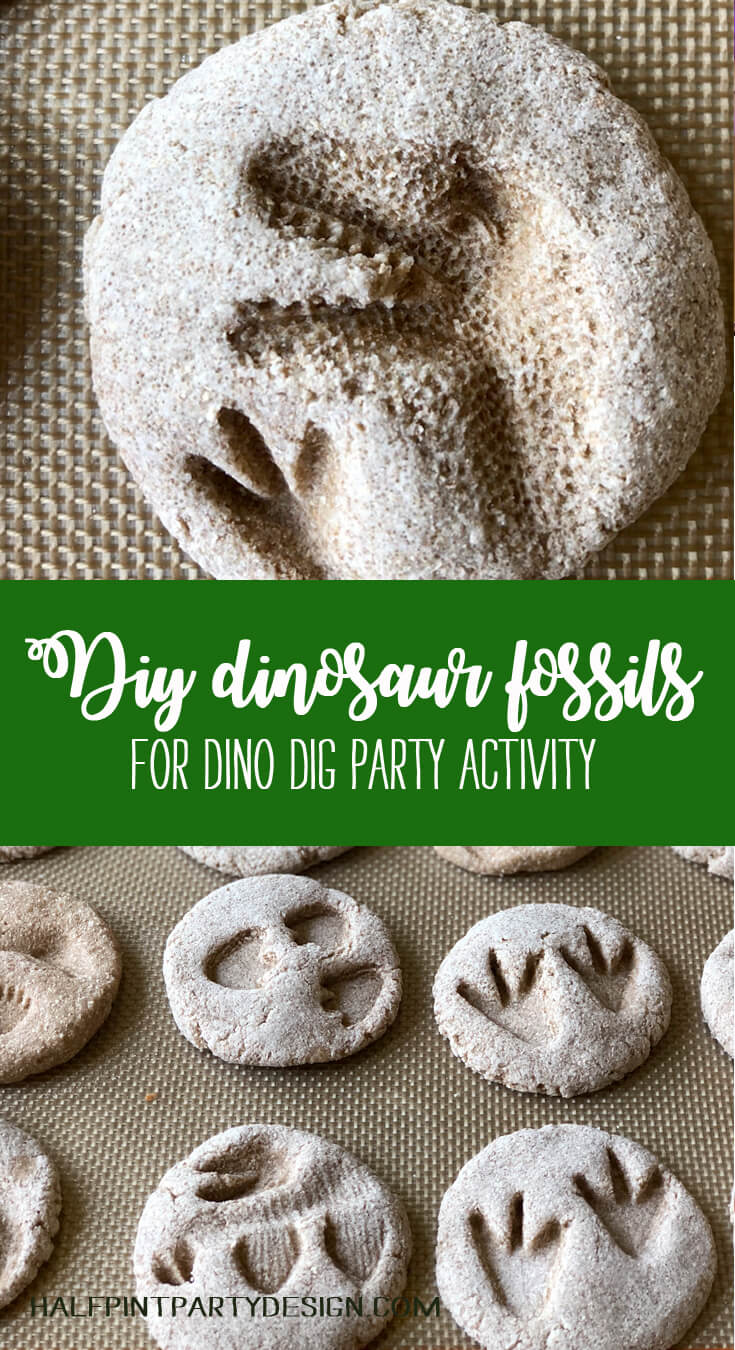 Pinterest image for DIY Dinosaur fossils for a dino dig party activity