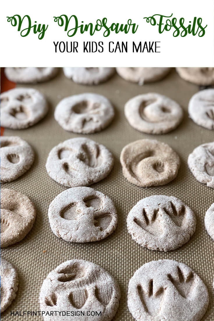 Pinterest graphic for DIY Dinosaur Fossils showing salt dough fossils on tray
