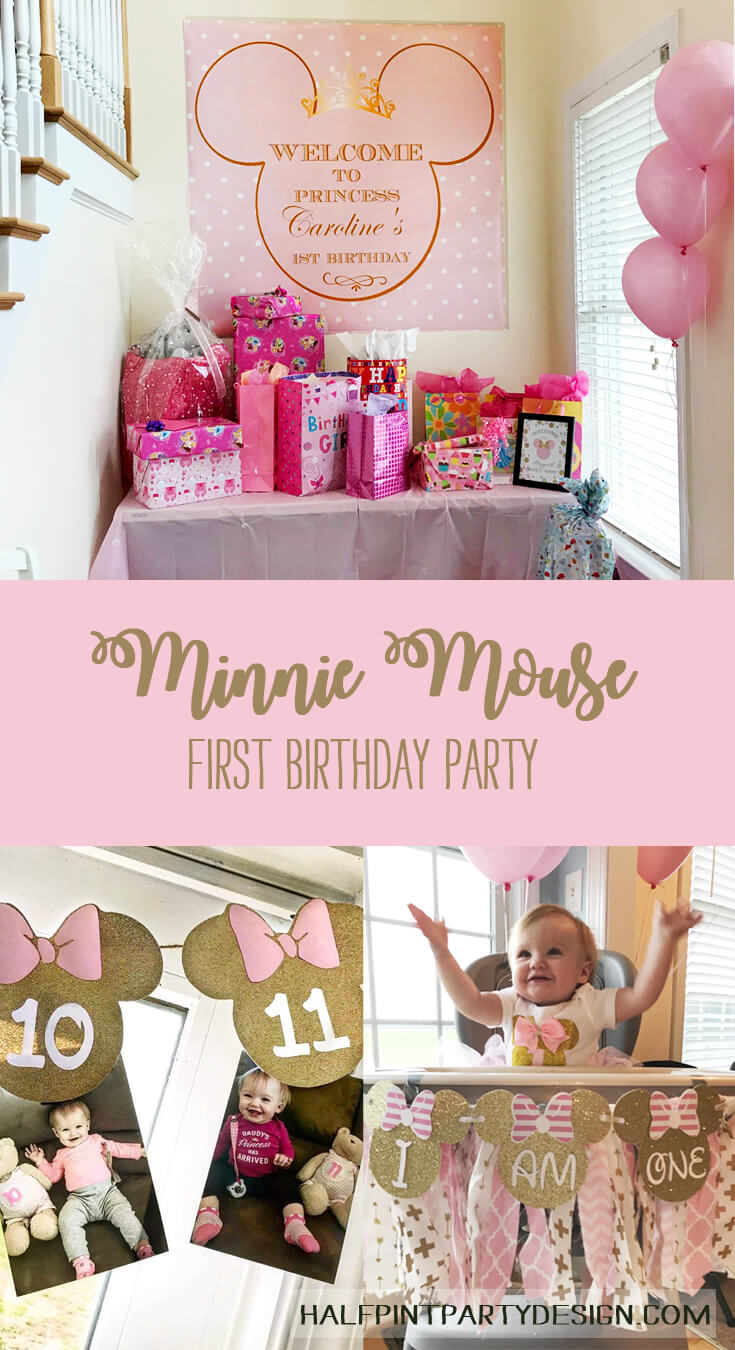 Pinterest image for a Minnie Mouse First Birthday Party
