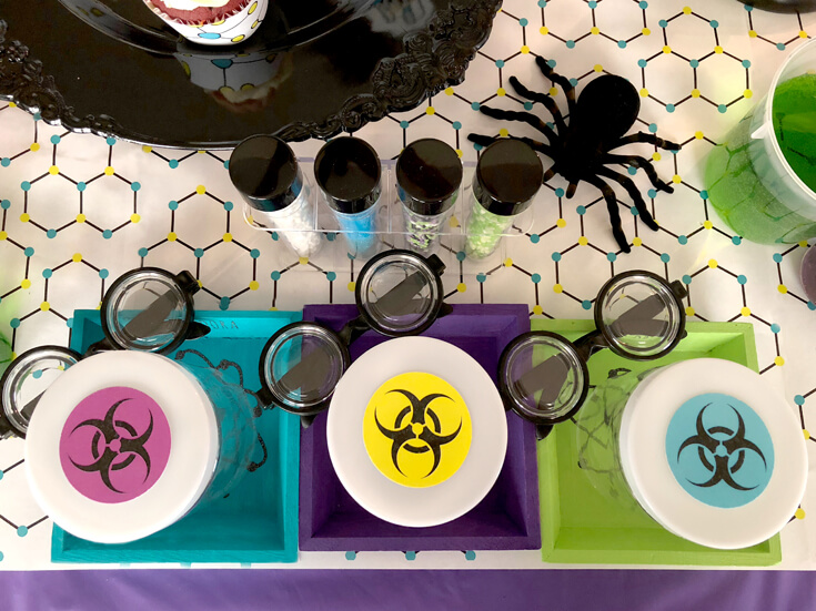 Empty tubs waiting for slime Mad Science party details