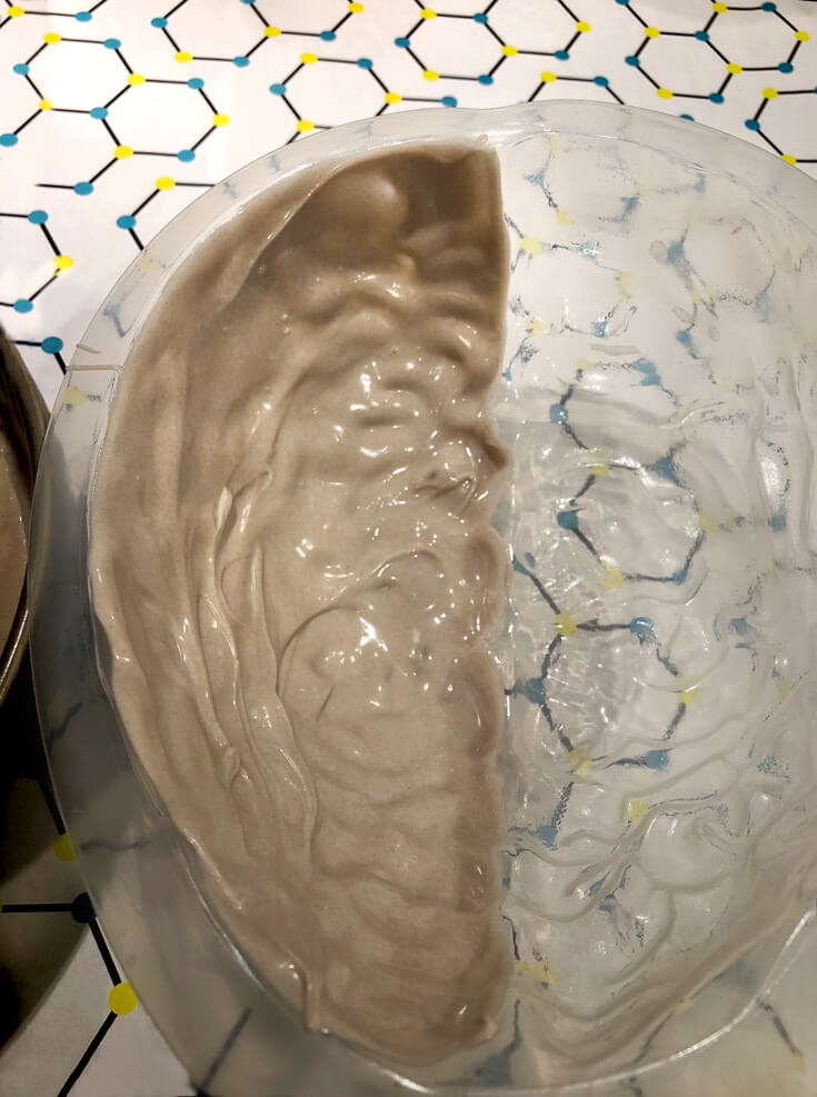 Grey chocolate layer for a red velvet Brain Cake tutorial