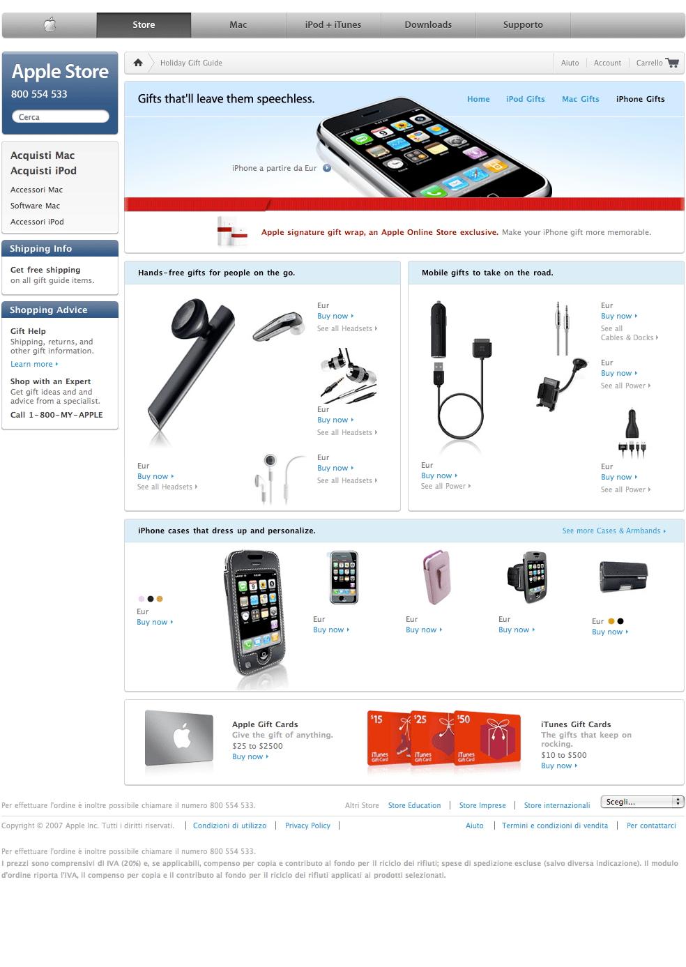 Iphone sullo store italiano