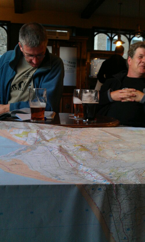 Steve and Jeff checking a map of the Rhinogs area Hike