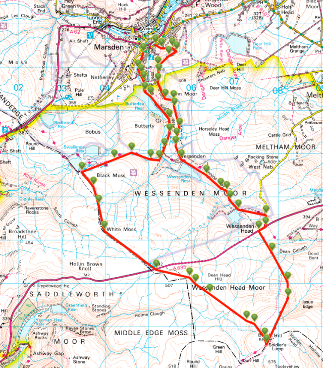 Map of a walk to Black Hill from Marsden