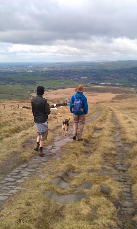 Walking on the Roman Road at Blackstone Edge