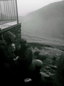 sheltering at halfway House on llanberis path