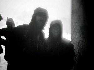 Walkers sheltering Snowdon