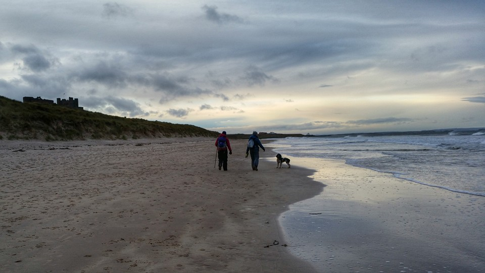 Northumberland coastal path and Bamburgh Castle