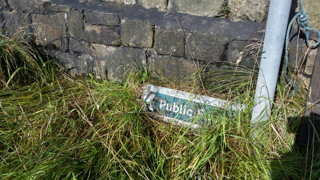 Marsden Walkers Are Welcome hike Public footpath sign