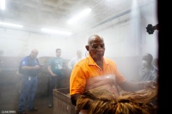 Alternatively, other tobaccos are moistened using a fine mist which is sprayed onto hands of tobacco. Workers shake the hands to help keep the mist even.