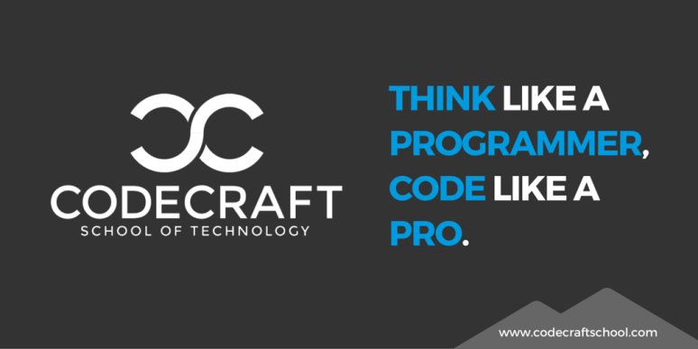 This image was created for a sponsored post campaign on Twitter for CodeCraft School of Technology. Use color to make copy print and be sure to include a call to action (and link when possible) in the text of your post.
