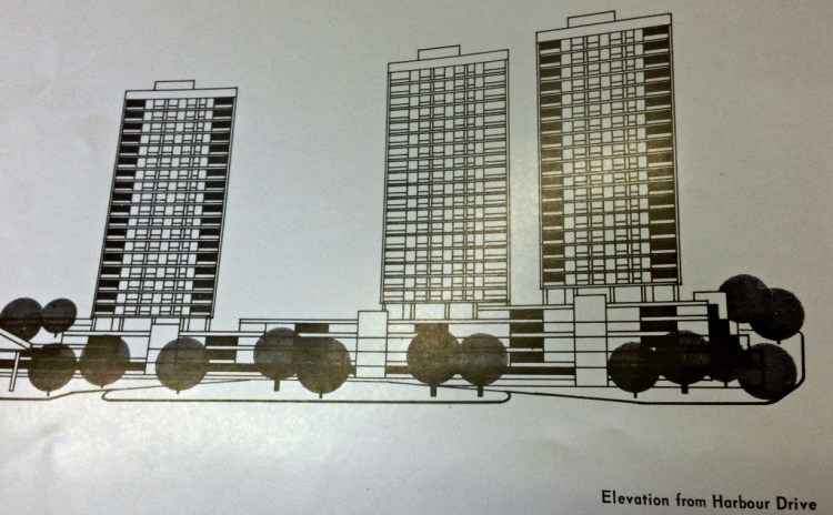 Apartment towers vied from harbor drive. Page is bent, hence distortion.