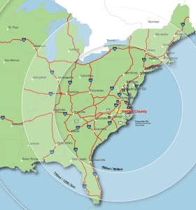 Located Centrally in the Eastern US