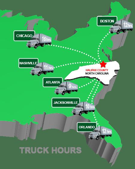 Halifax County Truck Distances