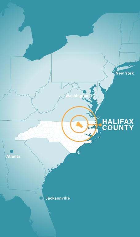 map showing Halifax County's location mid-way between New York and Florida in Eastern USA