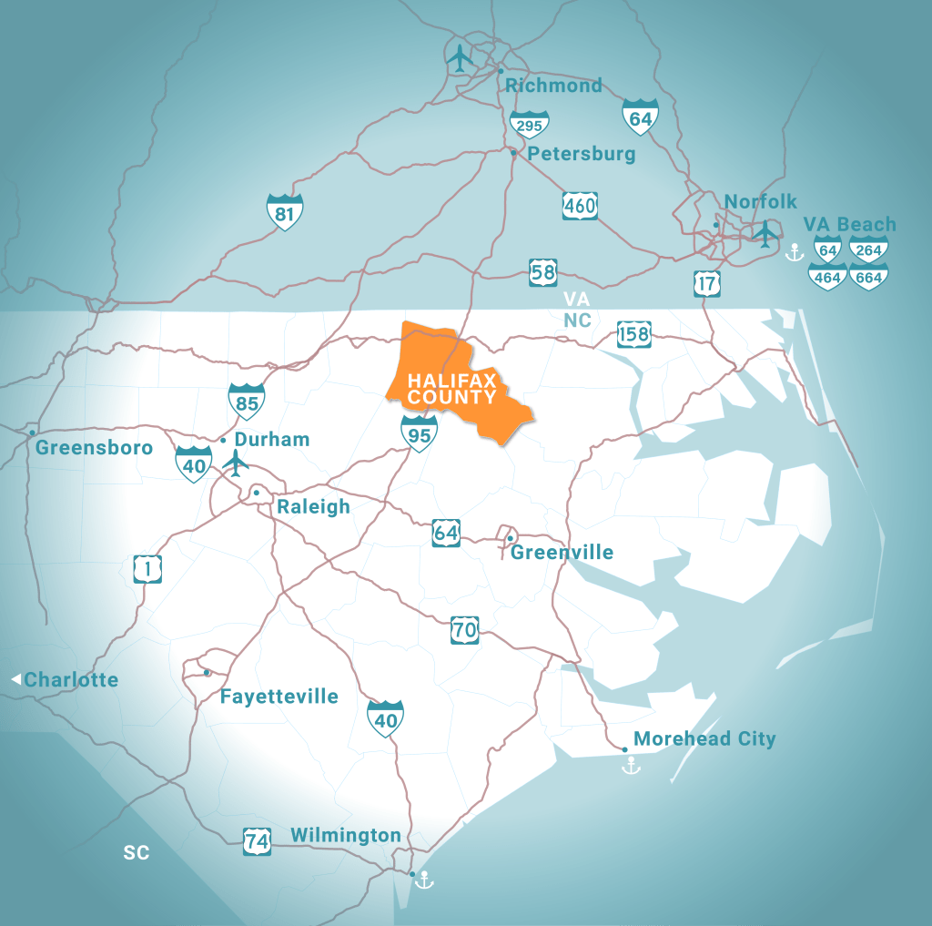 Map showing Halifax County and the surrounding area