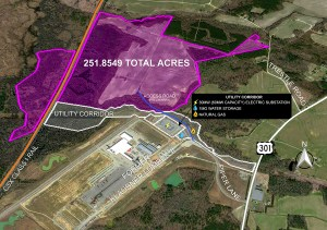 map showing 251.8549 acres site boundary, highway 301, piper lane proposed access road, utility corridor, and adjacent lumber industry