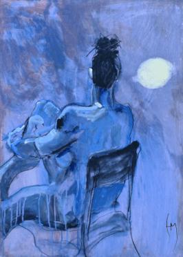 Life Drawing, Acrylic on Terraskin, 53x51cm