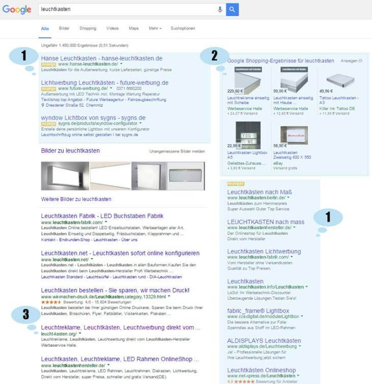 Beispiel Suchergebnis bei Google - Suchmaschinenoptimierung
