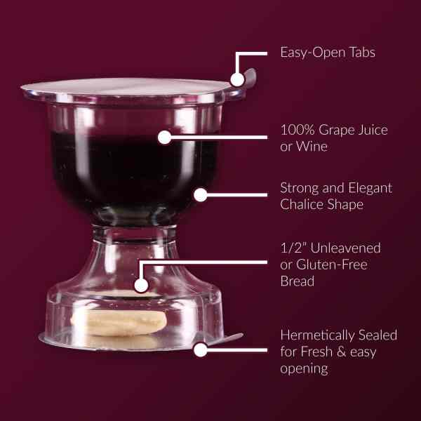 Prefilled Communion Cups With Bread & Wine