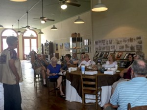 Hallet Oak Gallery's first Lunch and Learn about pottery with guest speaker and local artist, Baca St. Onge.