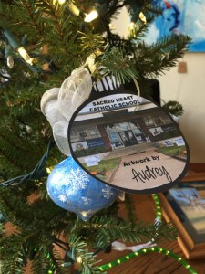 Christmas ornament fundraising for local schools, sponored by Hallet Oak Gallery.