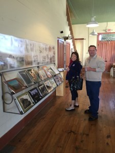 Saturday morning coffee, meet the artist! Vistors tour the historic timeline on Hallet Family and Hallet Oak Tree!