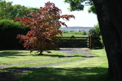 Entrance gate to the approach to the Saddlery cottage