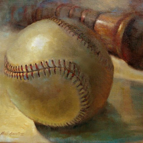 Babe Ruth Baseball with Bat - The New York Yankees 24 x 30 inches Oil on canvas by Hall Groat II