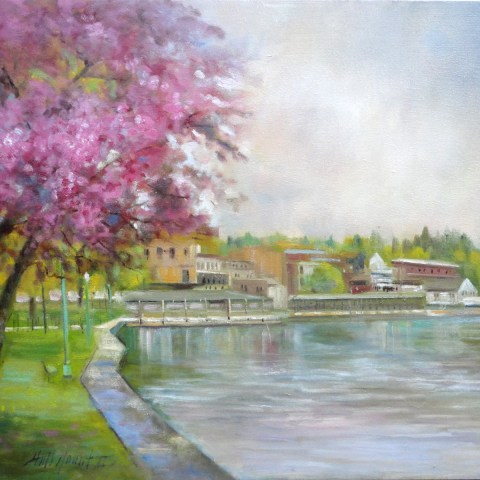 Skaneateles, NY, View from Shotwell Park 20 by 24 inches Oil on canvas by Hall Groat II