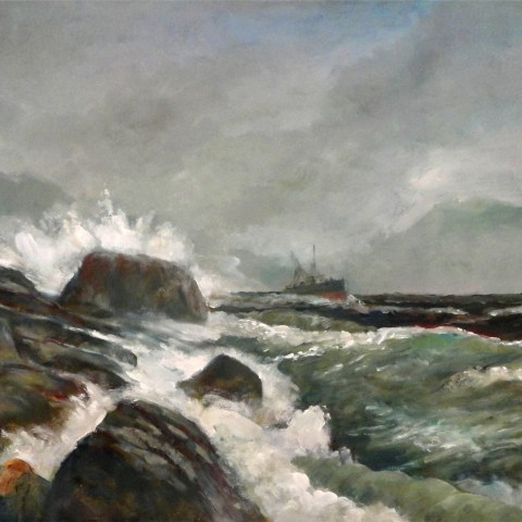 Emerald Seas, Rockport, Maine 30x40 Original Oil on canvas By Hall Groat Sr.