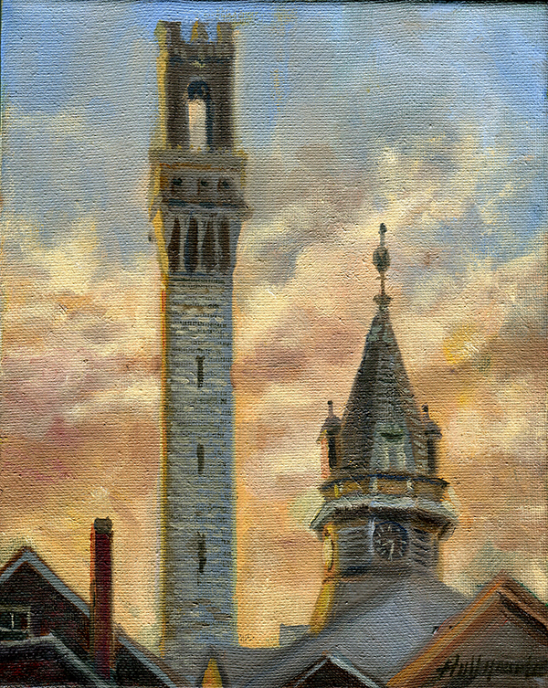 Clock Tower - Provincetown Monument 10 x 8in .Oil on canvas