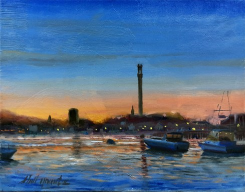 Provincetown Harbor Night, Pilgrim Monument 11x14in.Oil on canvas