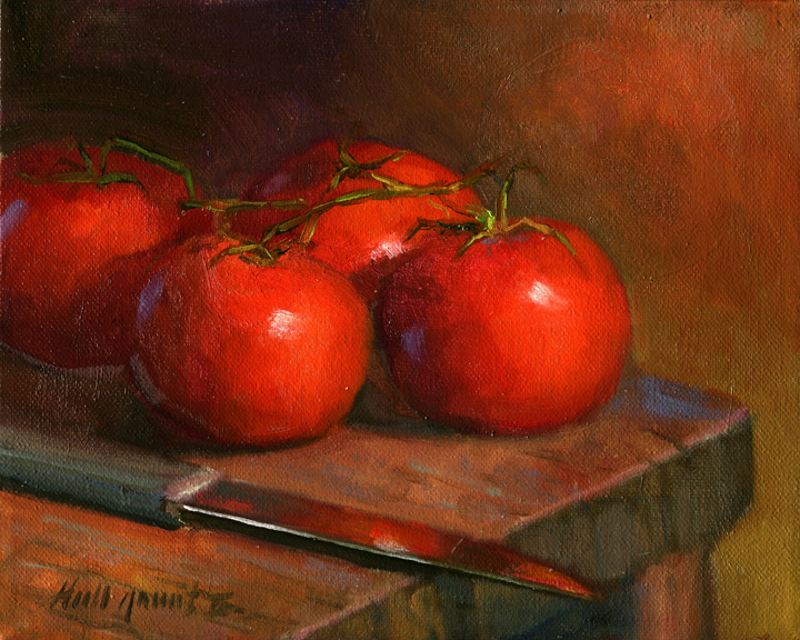 Tomatoes with Knife on Antique Table 8x10 in. Oil on canvas