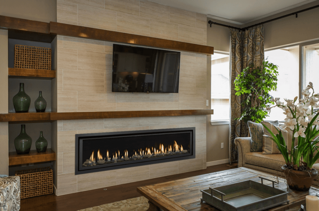 Residential living room fireplace appliances