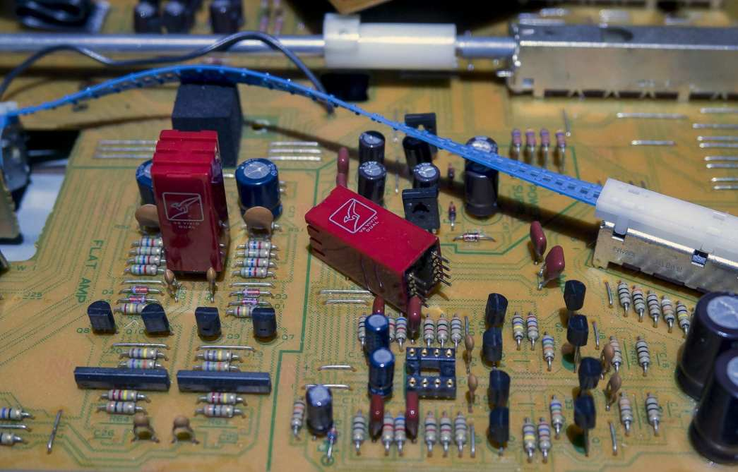 Kenwood C-2 internal shot of the primary dual-DIP op-amp locations. V5-OPA Duals are shown.